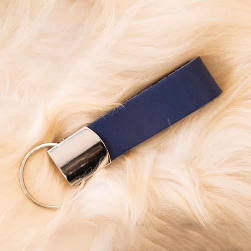 Blauwe sleutelhanger - personaliseerbaar - De Schoenkliniek