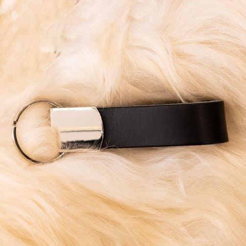 Zwarte selutelhanger - personaliseerbaar - De Schoenkliniek