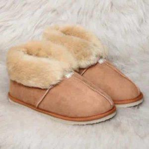 Pantoffels wol - beige - hoog model