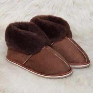 Pantoffels wol - bruin - hoog model