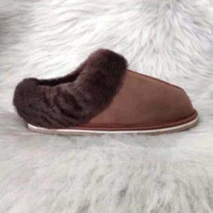 Pantoffels wol - bruin - laag model
