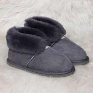 Pantoffels wol - grijs - hoog model